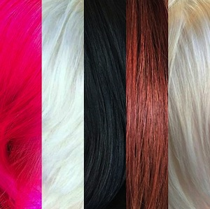 Fashion colors: pretty in pink, platinum blonde, bold black, and fierce red hair